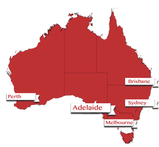 Map showing Adelaide, Australia