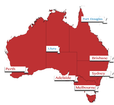 Map of Australia showing Ashes Tour locations