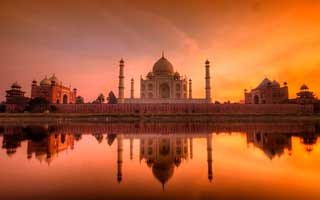The Taj Mahal at sunset