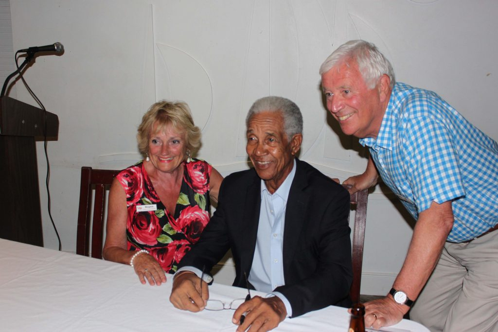 Sir Garry Sobers at our cricket cocktail party, Barbados