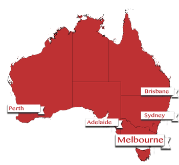 Map showing Melbourne, Australia