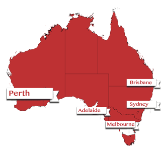 Map showing Perth, Australia