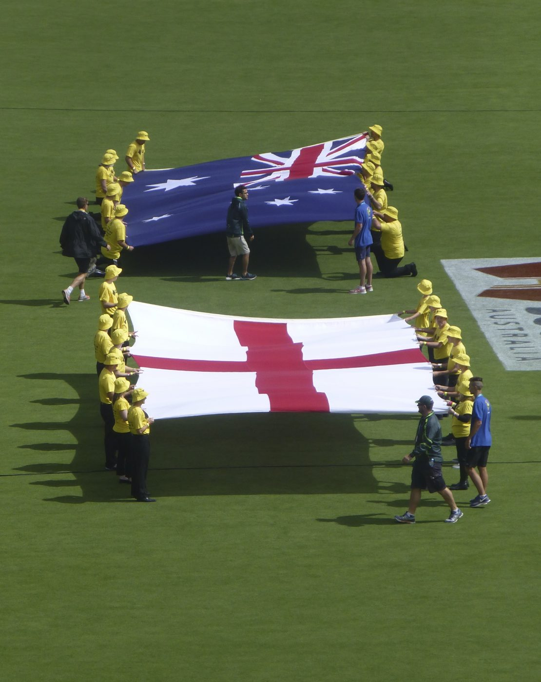 Displaying the flags at the 2nd test