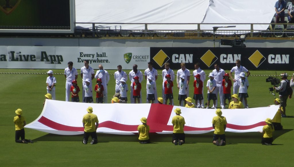 Displaying the England Flag at WACA Stadium, Perth