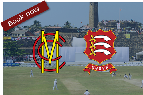 MCC logo and Essex CCC logo in front of a photo of Galle Stadium